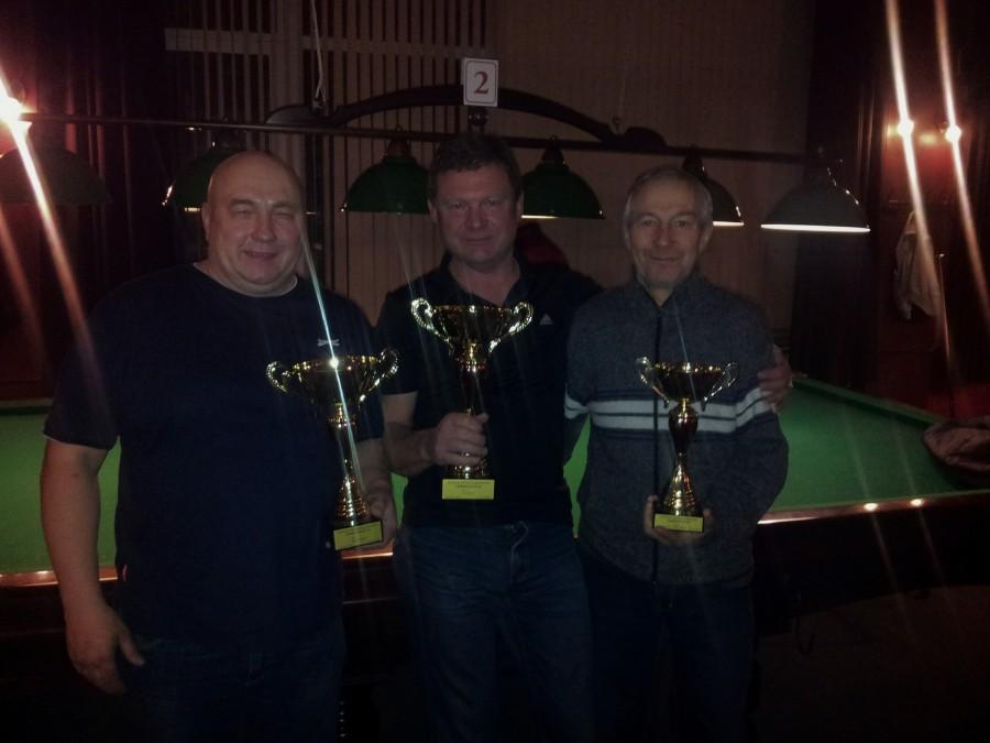 Grupės nuo 55 iki 65 metų prizininkai Jurij Gorbunov  (2 vieta), Vladimir Dubov (1 vieta), Sergaj Timofeev (3 vieta)